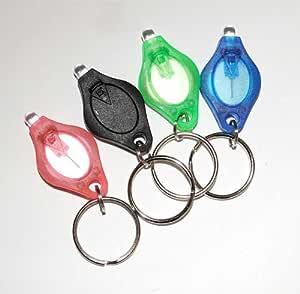 TigerTech 4 只装迷你 LED 钥匙链微灯黑色、蓝色、粉色、绿色 - 白色光束