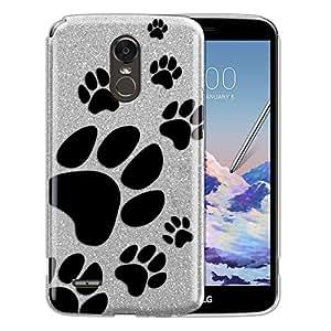 "FINCIBO 手机壳兼容 LG Stylo 3 Stylus 3 LS777 L84VL L83BL 5.7"",闪亮的银色闪光闪光闪光 TPU 保护壳 LG Stylo 3 Stylus 3 LS777 L83BL 5.7"" - 粉色紫色蝴蝶 Dog Paw Prints"
