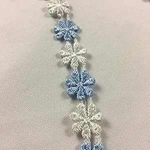 5 码,迷你 Daisy Venice 蕾丝饰边,1.27 cm Light Blue + White 5 A0684N2_LB100