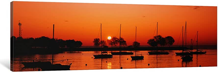 """iCanvasART Silhouette of Sailboats in a Lake, Lake Michigan, Chicago, Illinois, USA Canvas Print by Panoramic Images, 36"""" x 12""""/0.75"""" Deep"""