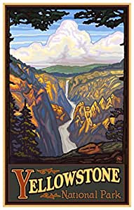 Northwest Art Mall Yellowstone 国家公园黄石瀑布带框艺术印刷品,Paul A. Lanquist。 12x18 inch PAL-0052 B