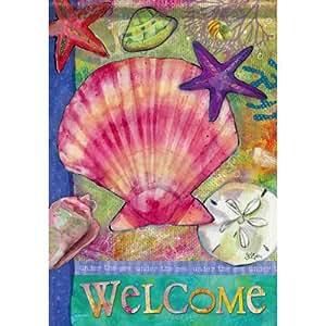 Carson Home Accents FlagTrends 经典花园旗帜,13 x 18 英寸,海底贝