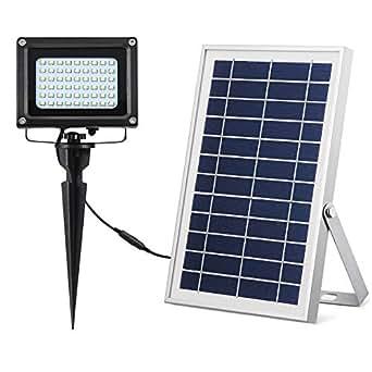 太阳能户外灯 400 流明室外室内太阳能泛光灯 54 LED 太阳能灯太阳能聚光灯适用于庭院门廊花园棚门廊车库路径标志. Warm White (6w Solar Panel) BT-F54B