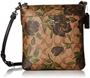 COACH Women's Camo Rose Messenger Crossbody Silver/Khaki/Black One