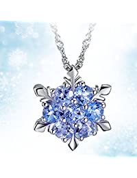 女士女孩冰雪花浅蓝色水晶吊坠项链 冬季雪地冰
