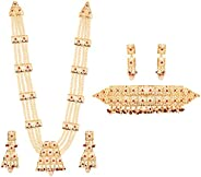 "Touchstone ""Mughal Jali 系列人造珍珠/红宝石新娘婚礼 Rani haar 项链和颈圈 金色 女式"
