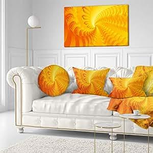 "Designart Bright Yellow Abyss 抽象艺术帆布画 黄色 40x20"" PT9009-40-20"