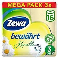 Zewa 卫生纸 干爽 洋甘菊 3 层 3 件装 (3 x 16 件)