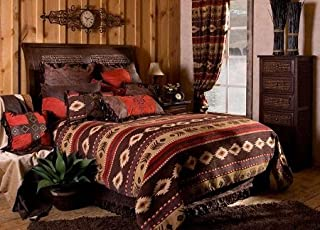 Carstens, INC Carstens Cimarron 西南州大号双人床盖被套装,棕色、红色、米色