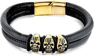 Xusamss 朋克摇滚不锈钢磁扣腕带骷髅皮革袖口手链,8 英寸手腕