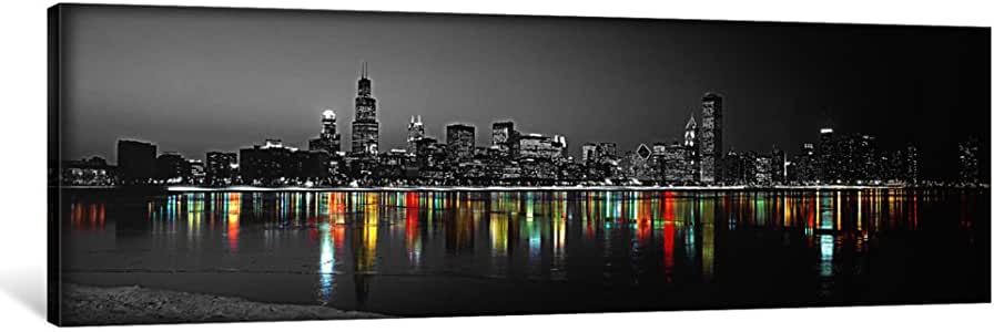 "iCanvasART 1 Piece Usa, Illinois, Chicago, Night Color Pop Canvas Print by Panoramic Images, 48 by 16""/0.5"" Deep"
