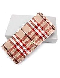 Beatfull 真皮设计师钱包女士长款双折钱包多条纹卡片夹收纳包带蜂蜜