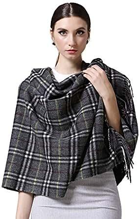 Glovin  女式 经典小格纹100%羊毛披肩 G15024002A05 灰色 70*180+10*2cm