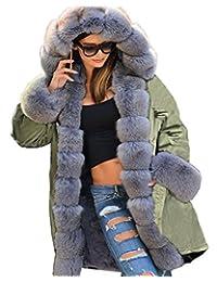 Roiii *派克大衣冬季温暖灰色人造毛皮夹克女式连帽派克大码
