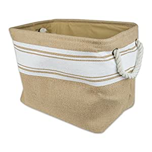 """DII Home Essentials Burlap, Collapsible, Convenient Storage Bin For Office, Bedroom, Closet, Toys, Laundry - Medium Rectangle (15.5"""" Long X 12"""" Wide X 9.5"""" High) White Ikat"""