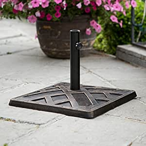 WE Furniture Square Umbrella Base Antique Bronze/Brown