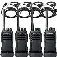 Retevis RT21 對講機 3000mAh * 2 代 FRS 收音機 16CH UHF 雙向收音機 可充電 VOX Scramble 雙向收音機(4 件裝)帶 2 針 C 型耳機(4 件裝)