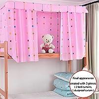 Adela 精品粉红色床罩床上用品窗帘遮光布单人床双层床帐篷 3 件窗帘 style1 1 Top+2 Bed Curtain(45.3 * 78.7IN) JJ-cl-03784-01ABC