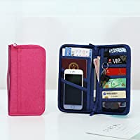 Naphele奈菲乐 四代升级版旅行证件收纳包 卡包 长款护照包 零钱包 便捷手拿包手持包 TB04 (两个装:藏青色+玫红色)