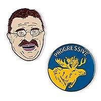 The Unemployed Philosophers Guild Teddy Roosevelt 和公牛驼胸针套装 - 2 个独特的彩色金属翻领别针