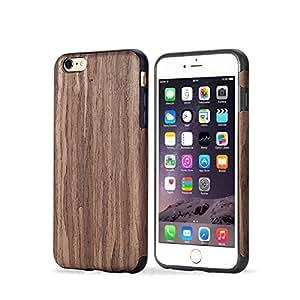iPhone 6 手机壳,iPhone 6s 手机壳,TabPow ROCK 木质系列 - [钱包手机壳][卡夹][防震][防摔]混合手机壳适用于苹果 iPhone 6/ iPhone 6S(4.7 英寸)iPhone 6/6S Wood Case Series Rosewood Series - Dark Rosewood