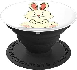 黄色米黄色小兔子坐在白色的 PopSockets 抓握支架适用于手机和平板电脑260027  黑色