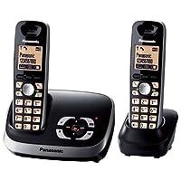 Panasonic KX-TG tg6522g Duo 无绳电话带电话答录机 黑色