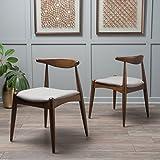 GDF Studio Sandra 灰色面料橡木饰面中世纪现代餐椅(2 件套)
