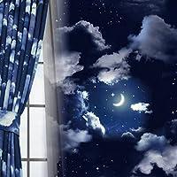 窗美人 静音器1遮光 带内衬的2层窗帘 隔热 保温 形状* 藏青色 幅100×丈230cm 2枚組 -