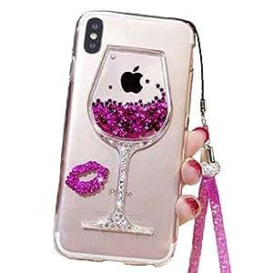 液体闪光手机壳适用于 iPhone Xs 5.8 英寸 (2018),可爱高脚杯酒玻璃快速飘逸浮浮动闪亮性感化妆盒,适用于带颈绳女孩 iPhone XR 玫瑰红