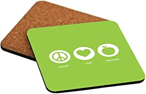 Rikki Knight Peace Love Teacher Lime Green Color Design Cork Backed Hard Square Beer Coasters, 4-Inch, Brown, 2-Pack