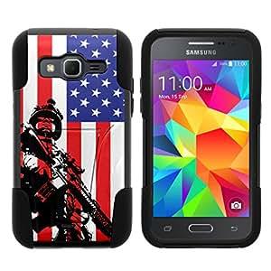 TurtleArmor ® 兼容三星 Galaxy Core Prime 手机壳 - Prevail LTE - Win 2 [Gel Max]双层混合支架吸塑硅胶手机壳战争和军事设计 - American Soldier