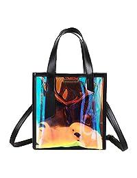 monique 女式彩色 iridescent 石头纹手提包与化妆包海滩旅行手提单肩包手包可斜跨包包斜挎包单肩包