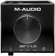 M-Audio AIR HUB - USB/USB-C 桌面音频接口,内置 3 端口集线器和软件套件,包括 ProTools   First Eleven Lite,Avid 效果收集和 Xpand!2 来自 AIR 音乐技术