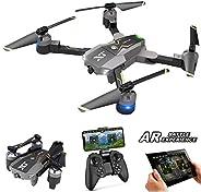 Atoyscasa FPV RC 无人机带 120° FOV 720P 高清 Wi-Fi 摄像机,可折叠 2.4GHz 6 轴陀螺四轴飞行器无人机 适合儿童和初学者 - 高度保持,一键起飞/着陆,3D 翻转,AR 游戏,