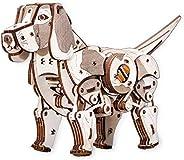 EWA Eco-WoodArt Puppy EWA EcoWoodArt 3D 木制拼图,适用于青少年和成人机械狗模型宠物DIY套件,自行安装,无需胶水,自然