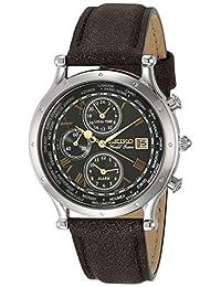 SEIKO 精工 男式必备不锈钢日本石英皮革小牛皮表带,棕色,0 休闲手表(型号:SPL057)