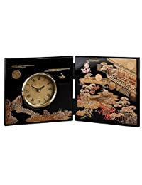 MIYABI Folding screen clock of japanese lacquerware Tale of Genji (Black) -海外卖家直邮