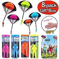 iGeeKid 8 件装降落伞玩具 儿童无缠绕跳伞兵 降落伞兵 运动户外飞行玩具 适合儿童幼儿 男孩 年龄 8-12 岁(附礼盒)