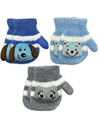 3 双装幼儿男孩温暖冬季手套——可爱毛绒(1-3岁)