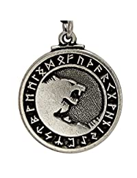 Pewter Odin's Wolves Norse Rune 狼吊坠