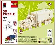 Marabu 317000000004 - KiDS 3D 木制拼图卡车,带38块由FSC认证的木材制成,约 19 x 8 厘米高,简单的插接技术,个性化绘画和设计