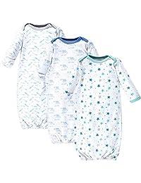 Luvable Friends 儿童长袍 3 件装(双面布)- 男孩大象/星星图案睡衣,男孩大象/星星 3 件装