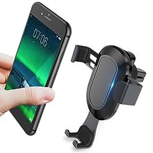 手机支架适用于汽车,KOOLEHI 汽车手机安装空气通风孔,自动夹紧和一键触控适用于 iPhone X 8/8s 7 Plus 6s Plus 6 SE Samsung Galaxy S8 Edge S7 S6 Note 8 5 等智能手机ZJ-1 黑色