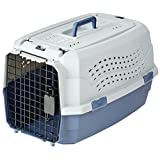 AmazonBasics 双门顶部装载式宠物犬舍 灰色和蓝色 23英寸