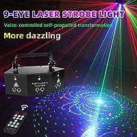 RGB 扫描激光 9 镜头扫描 舞台灯 DMX 线束照明 带遥控器 适用于DJ 舞蹈 迪斯科 酒吧 生日派对