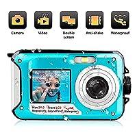 防水数码相机 24 MP 水下摄像机 全高清 1080P 视频录像机自拍双屏幕拍摄防水摄像机适用于浮潜