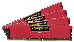 CORSAIR vengeance LPX 64GB ( 4X 16GB ) DDR 4dram 3333MHz C16内存套件适用于 Intel 100系列 DDR 4系统–红色