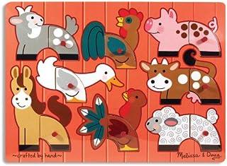 Melissa & Doug 农场动物混合搭配木质拼图(8 片)