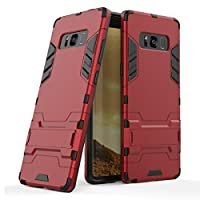 三星 Galaxy Note 8(6.3 英寸)2 合 1 带支架的防震功能混合双层装甲保护壳 红色
